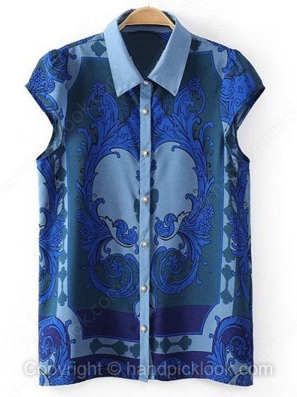 Blue Lapel Cap Sleeve Floral Print Button Blouse - HandpickLook.com