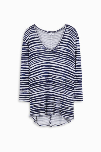 t-shirt shirt striped t-shirt women navy top