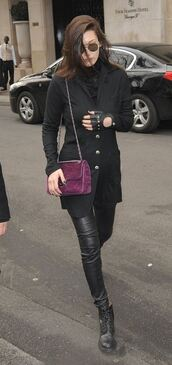 jacket,gloves,bella hadid,all black everything,pants,leather,purse
