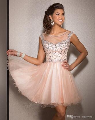 dress peach dress cap sleeves dresses short tulle dress short homecoming dress
