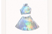 skirt,holographic,shirt,grunge,pale,cyber ghetto,holographic top,top,crop tops,cropped shirt,dress