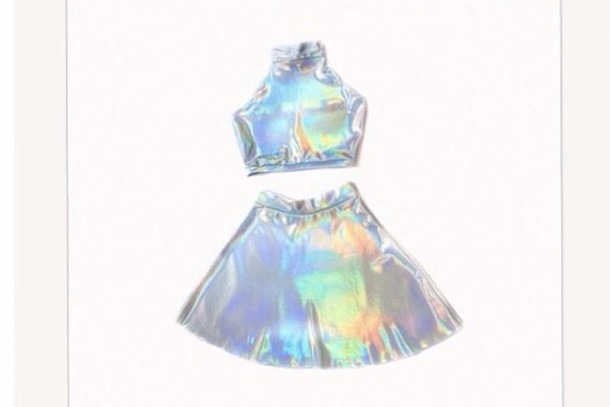 skirt holographic shirt grunge tumblr pale tumblr outfit cyber ghetto holographic top hair accessory socks top crop tops cropped shirt dress