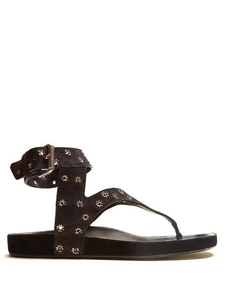 Isabel Marant embellished sandals suede black shoes