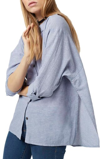 shirt blue shirt chambray oversized shirt