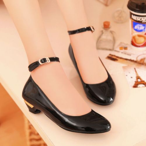 Womens lovely patent round toe ankle strap low heel dolly pumps shoes plus size