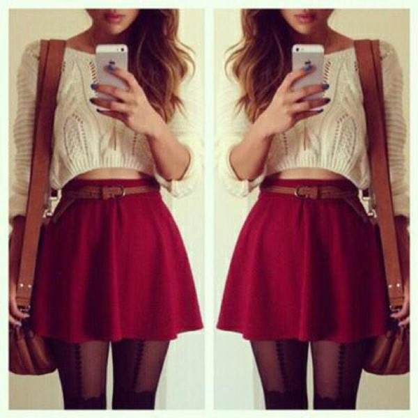 Skirt Skater Skirt White Crop Top Sweater Burgundy