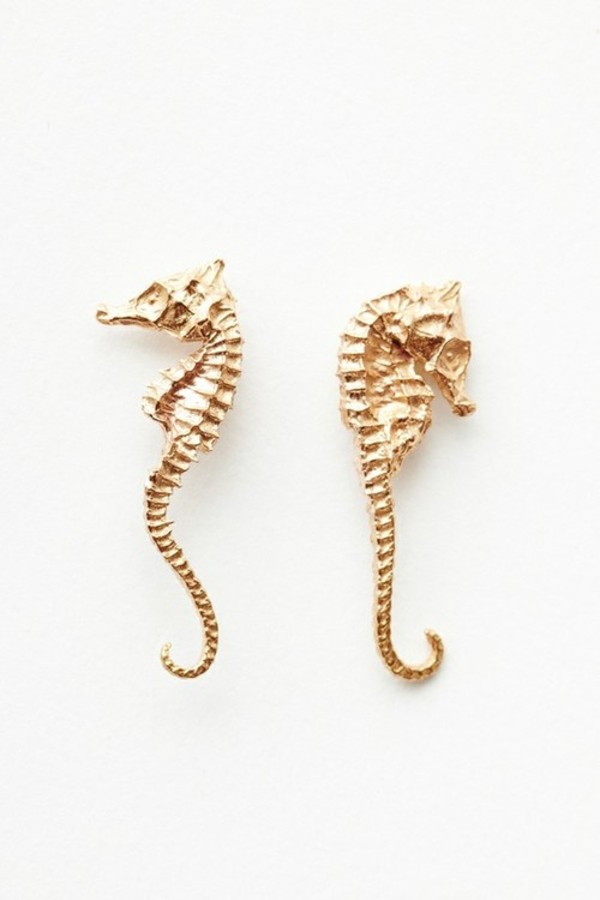 jewels gold earrings seahorse earrings seahorse