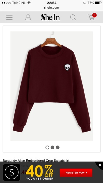 sweater burgundy fashion style trendy alien fall outfits long sleeves fall sweater sheinside