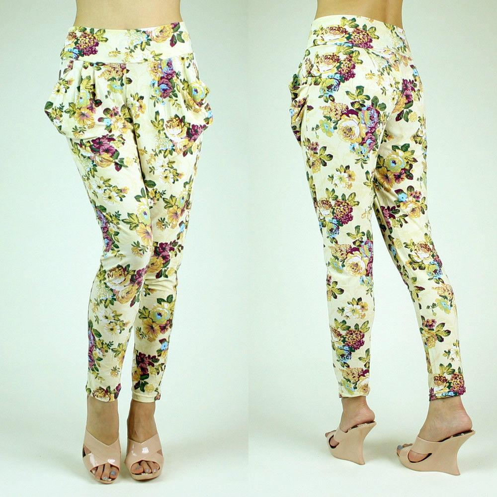 Girly Floral Flower Print Comfy Velvet Feel Cream Harem Pants Leggings Tights