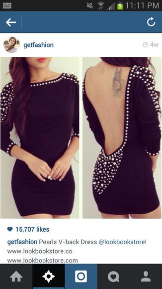 backless dress mini dress little black dress pearls classy elegant