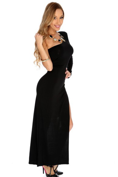 maxi dress high slit dress high slit maxi dress high slit slit black one shoulder long sleeve high slit sexy maxi dress one shoulder long sleeve high slit sexy maxi dress one shoulder dress