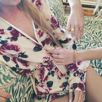 romper combishort beautiful floral jumpsuit flowers