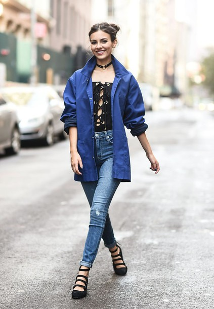 top lace up victoria justice jacket bodysuit choker necklace shoes jewels