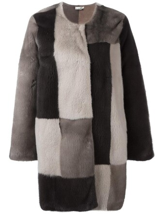 coat patchwork fur women brown