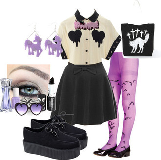 blouse tights pastel goth melted melting melt melting heart heart boobs white blouse top button up button up blouse pastel goth top pastel goth outfit black skirt bow skirt creepers flats bow flats black creepers shoes black shoes bat tights purole purple purple tights purple bat tights black lipstick lipstick eye shadow perfume jewelty jewelry make-up black bow skirt cross crosses scared cat cats halloween cat cat bag bag black bag glasses outfit aesthetic tumblr pastel goth aesthetic tumblr aesthetic aesthetic tumblr