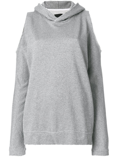 hoodie women cold cotton grey metallic sweater
