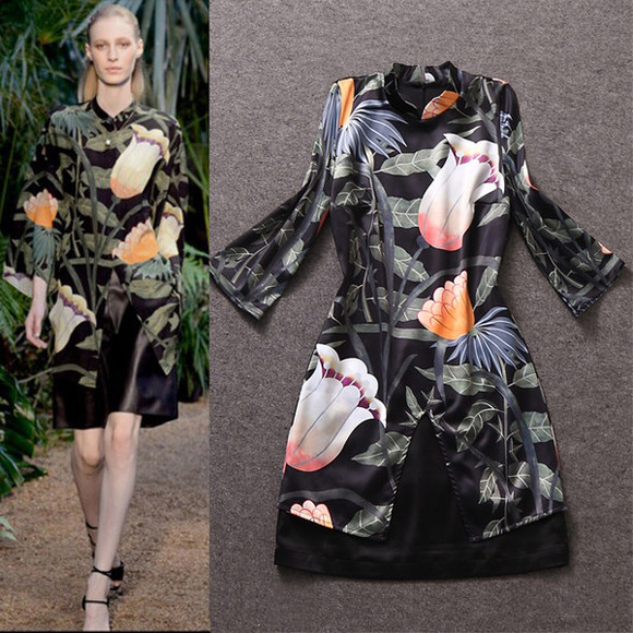 print dress black dresses women dress runway dress