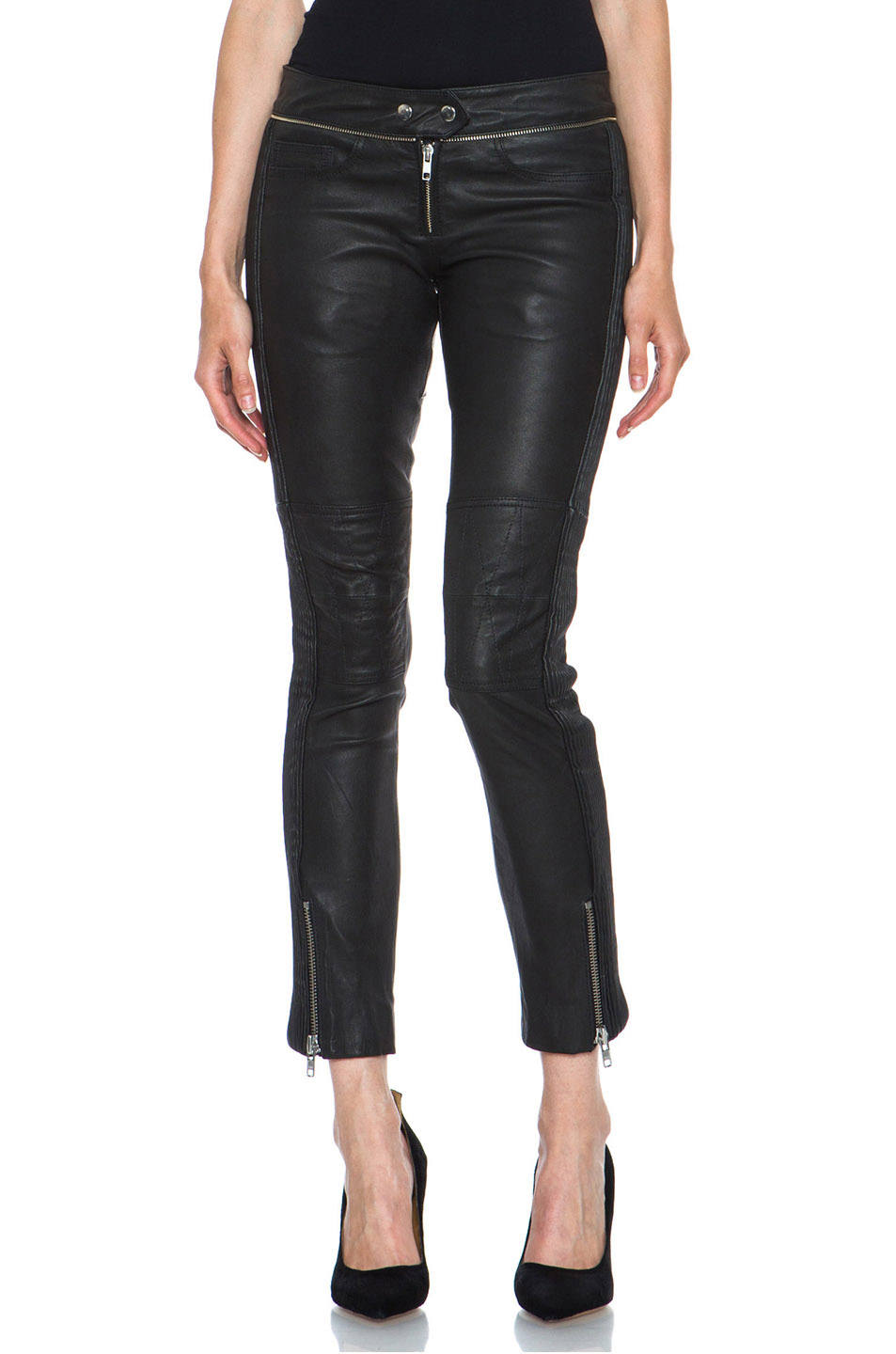 Isabel Marant|Kerry Lambskin Pant in Faded Black