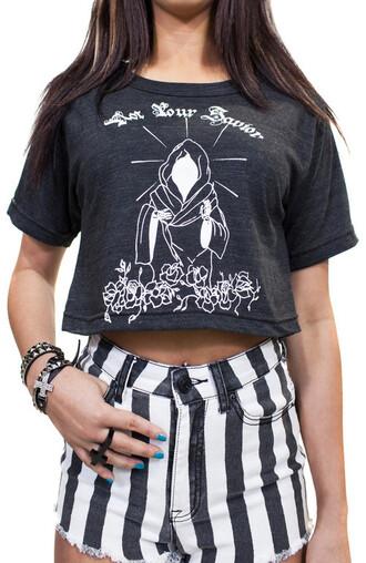 t-shirt crop top not your savior holy jesus roses tattoo art print shorts