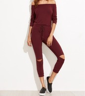 jumpsuit,girl,girly,girly wishlist,jumper,one piece,off the shoulder,burgundy,slit knee