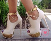 shoes,fashion,classy,white,gold,heels,high heels,white and gold,white high heels,big heel,gold heels,lace up heels,open toes heels,ankle strap heels
