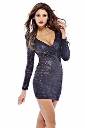 Long Smooth Sequin Sleeve V Front Dress - AX Paris