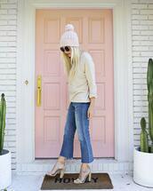 jeans,liverpool jeans,beanie,pom pom beanie,knitted beanie