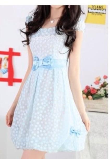 dress blue blue dress light blue bow dress with dots light blue dresses