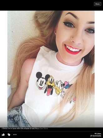 tank top t-shirt graphic tee teenager shirt disney donald duck mickey mouse minnie mouse white tank top white crop tops muscle tank mickey and minnie tee soft girly cute