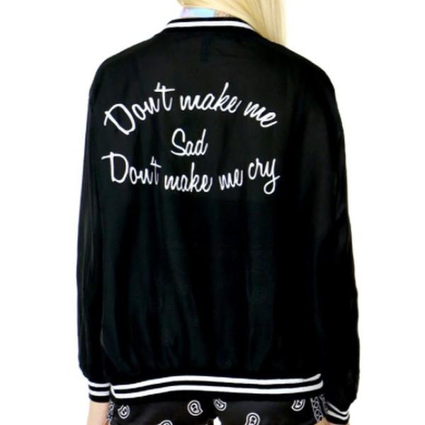 lana del rey quote on it black and white baseball jacket jacket grunge tumblr black aesthetic lana bomber jacket trendy minimalist
