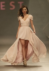 dress,eva brazzi,pastel pink,flowy,miranda kerr,pastel,pastel dress,prom dress,maxi dress,high low dress,gorgeous,maxi,high low,wedding,pink,special occasion dress,hot,pretty,cute