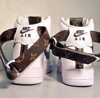 shoes nike air louis vuitton white sneakers high top sneakers nike