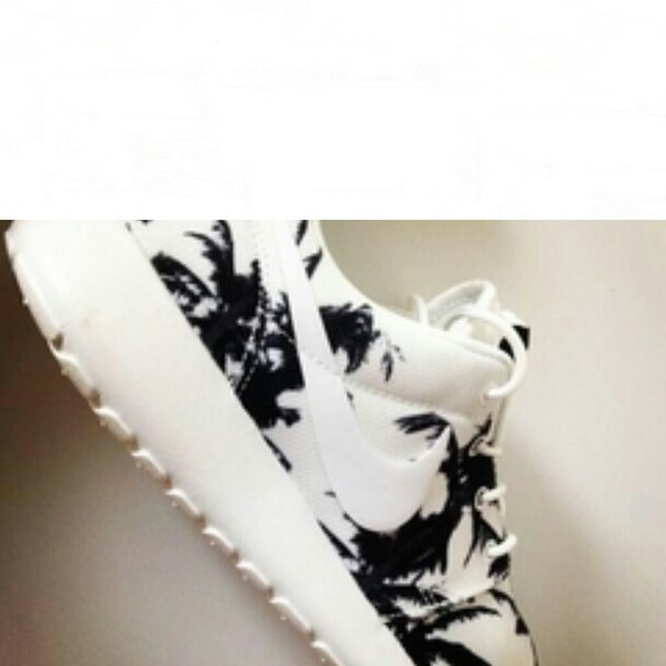 shoes nike roshe run white palm tree print black running shoes nike