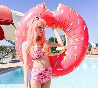 swimwear cookie muffin sweet high waisted bikini colorful unique bikini top bottom cupcake donut pool accessory pool summer holidays
