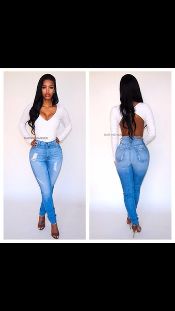 blouse top white top jeans pants shirt cream bodysuit