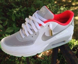 shoes clothes nike red air max 90 sneakers yeezy white
