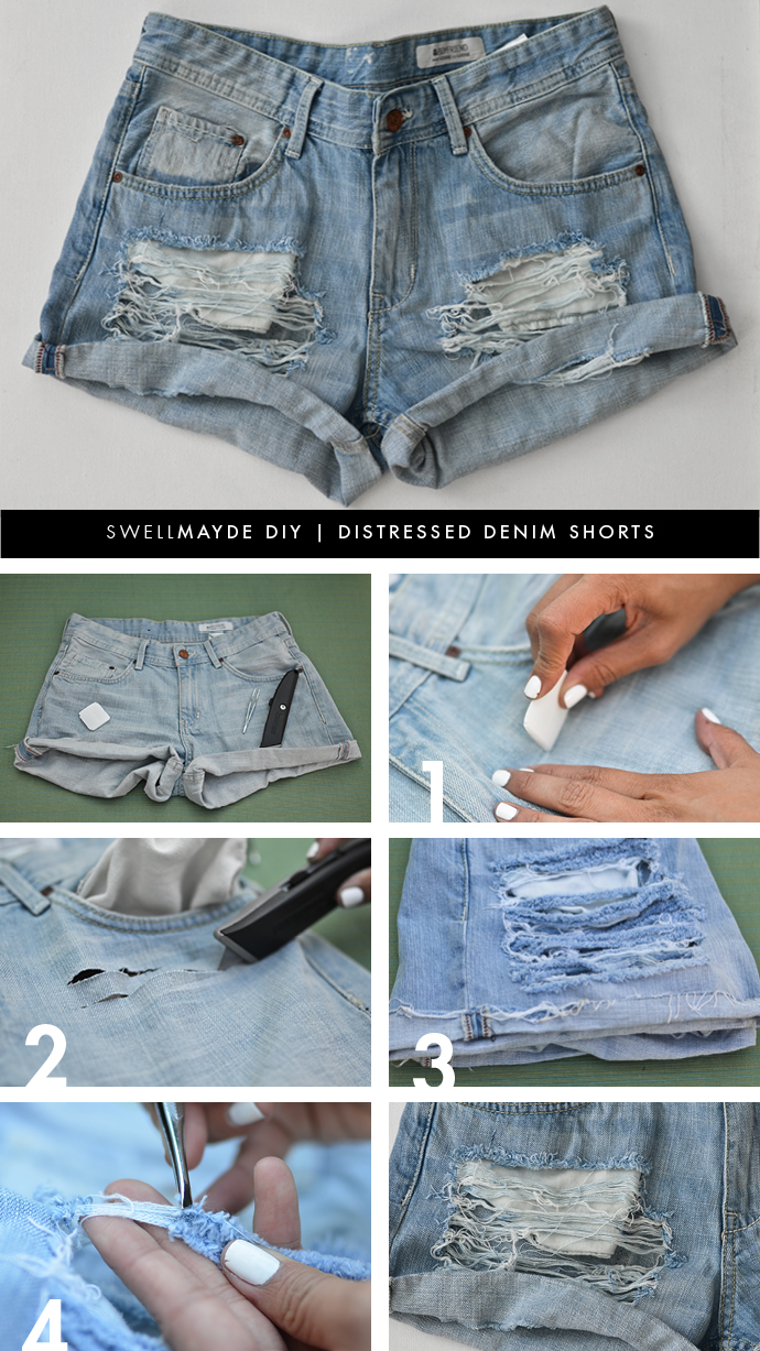swellmayde: DIY SERIES | DISTRESSED DENIM SHORTS