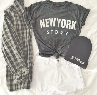 new york city blouse t-shirt fashion white shorts beanie shirt grey beanie grey t-shirt flannel shirt grunge new york story flannel black white cardigan plaid shirt tumblr bad hair day beanie shorts top hipster fall outfits hair accessory custom beanie story grey shirt jacket summer shorts denim style new york shirt bad hair day hat grey white lace shorts new york casual hat green jacket plaid jacket skirt pull and bear