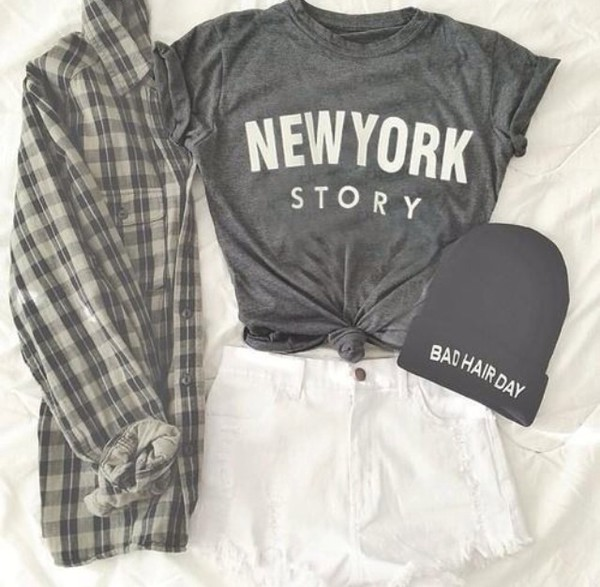 jacket new york city new york story summer shorts denim style new york shirt shorts white shorts beanie bad hair day hat t-shirt flannel grey blouse fashion