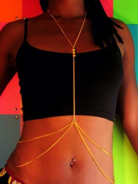 jewels gold body chain
