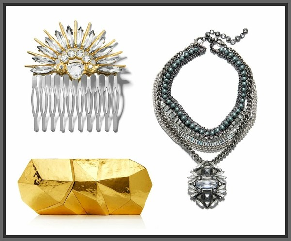 jewels hair barette head jewels gold silver platinum gunmetal chain rhinestones crystal nuggets geometric barrette hair clip hair comb statement necklace gatsby deco classical classy abstract modern evening wear eveningwear purse clutch bag minaudiere evening bag jewelry