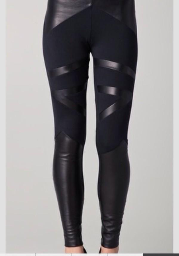 pants black leggings leather leggings