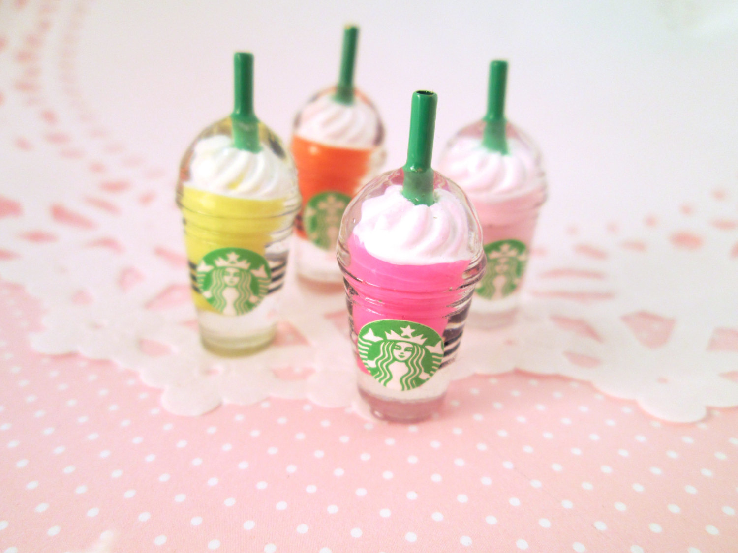 Cute Multicolor Starbucks Coffee Cabochon Charms