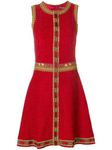 dress embroidered women cotton silk red