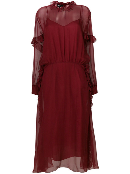 Rochas dress sheer women silk red