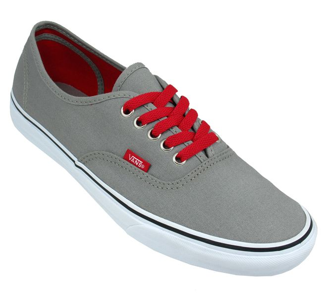 Vans Mens Authentic Frost Grey Red Trainers  5a6009091f