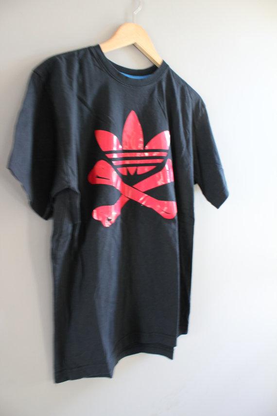 Vintage 90s Adidas T-shirt Red Trefoil Big Logo Bone Skeleton Black Cotton Tee 3 Stripes Baggy Slouchy hipster 90s Size XL #T145A