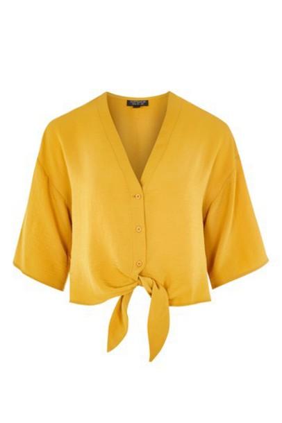 Topshop shirt tie front mustard top