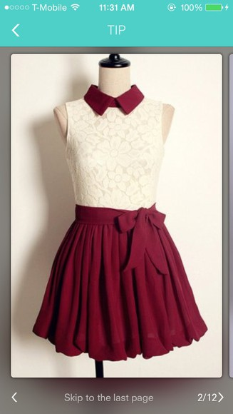 white lace top burgundy color
