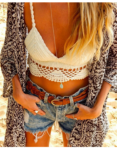 Crochet crop top summer hippie style kinitted short tank black white